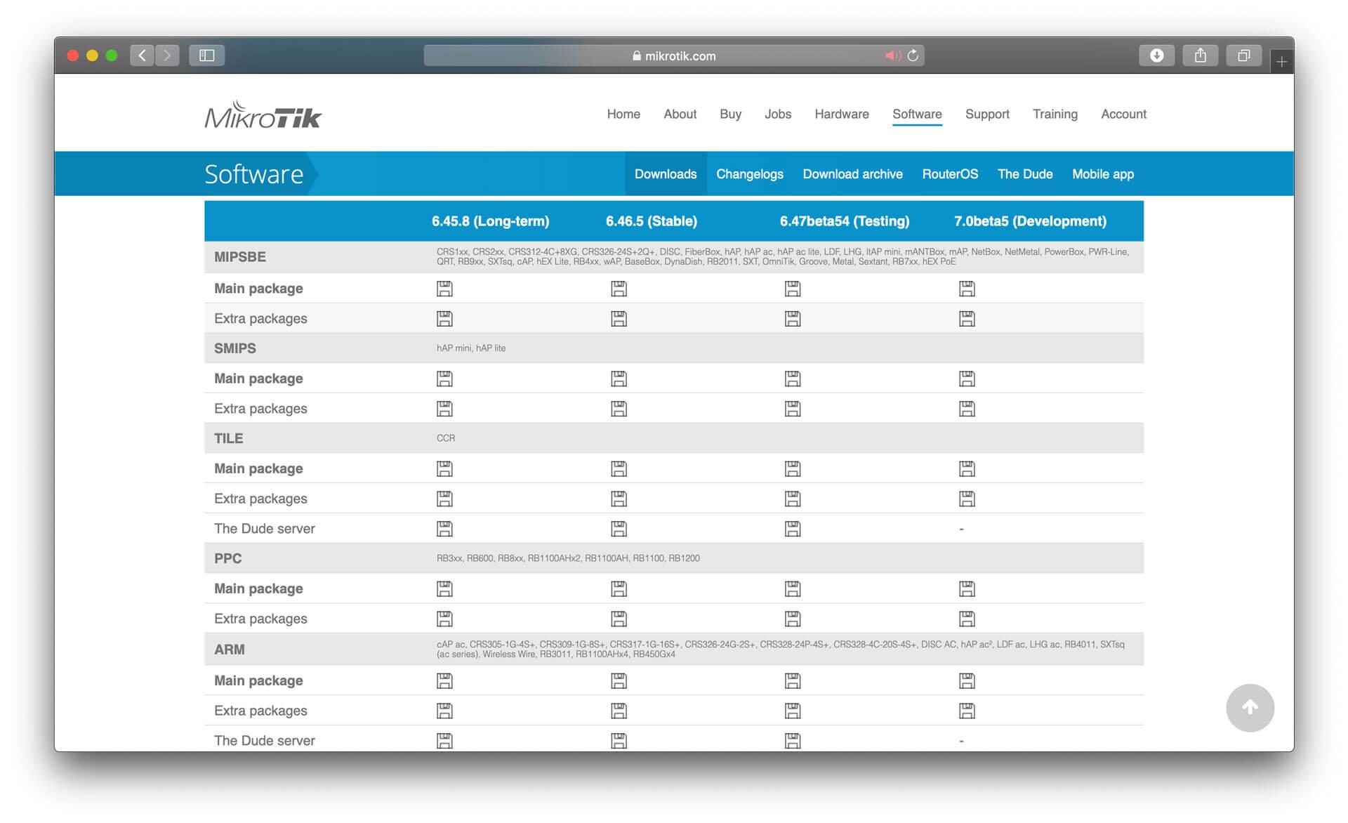 Mikrotik RouterOS firmware